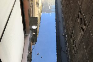 建物裏にて排水管の詰まり